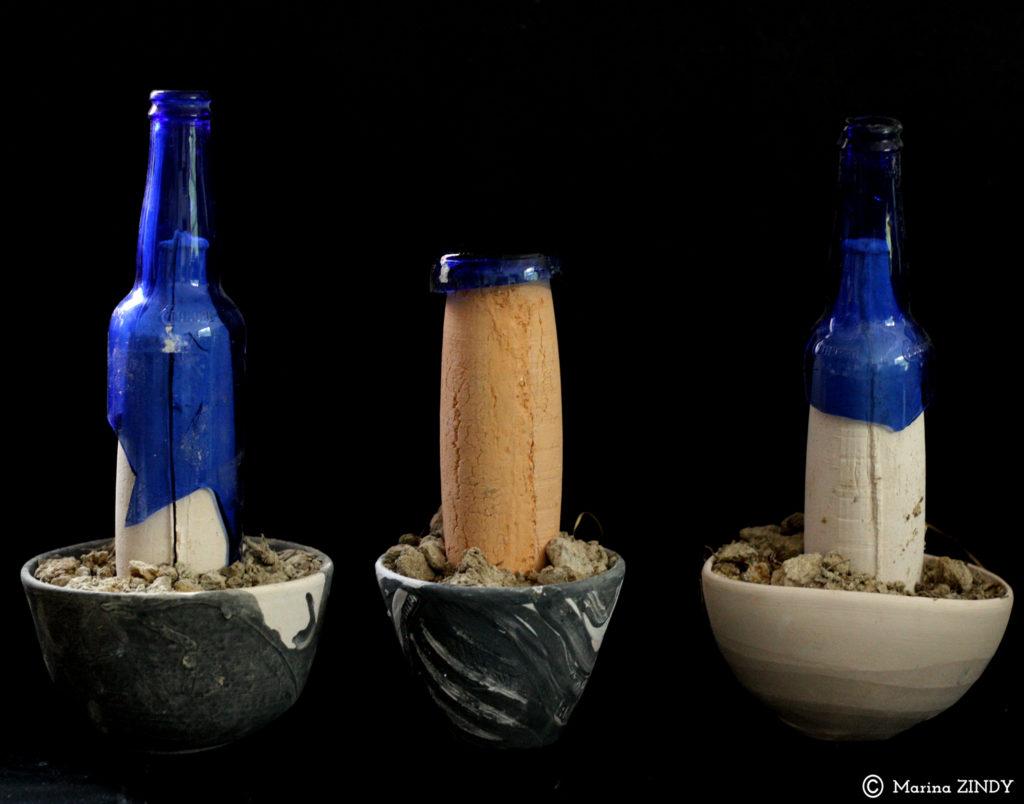bouteilles en terre et en verre